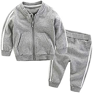 WTYD Family Goods 2 in 1 Autumn Baby Clothes Cotton Long Sleeve Zipper Sportswear Set, Kid Size:110cm(Red) (Color : Grey)