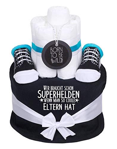 Trend Mama coole Sprüche Windeltorte Junge schwarz - Babysocken + handbedruckt Lätzchen mit Spruch -Wer braucht schon Superhelden wenn man so coole Eltern hat