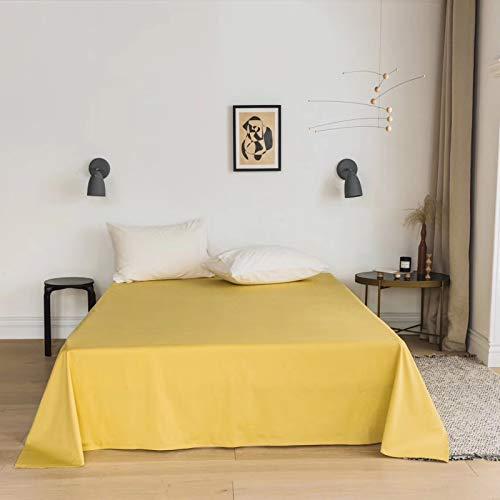 Xiaomizi Sábana de algodón de color puro para cama individual de color liso, producto simple de 40 algodón, protector de colchón