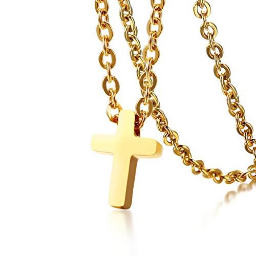 YAMAO Hombre Collar,Collar con Colgante de Cruz Simple para Mujer, Acero Inoxidable, 20', Cadena en O, Collar para Mujer, 3 Colores