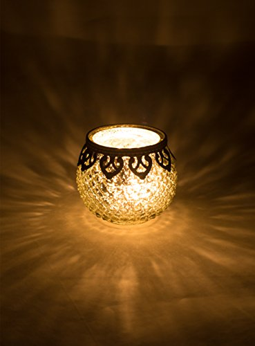 Home&Decorations FX23553G-2X 2er Set Windlicht Teelichthalter in Antik-Optik, Ø10cm x 8,5cm, Goldfarbe