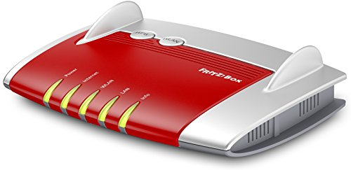 AVM FRITZ!Box 4020 WLAN-Router (für den Betrieb an einem Modem am Kabel-/DSL-/Glasfaser-Anschluss, WLAN N, 450 MBit/s (2,4 GHz) 4 x Fast-Ethernet, Mediaserver, internationale Version) rot/weiß
