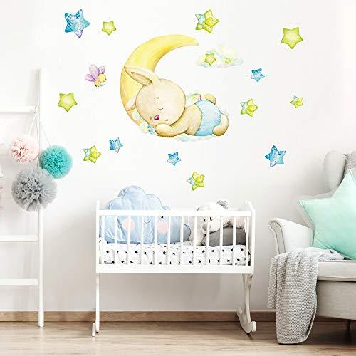 R00575 Pegatina Vinilo Pared Suave Efecto Tejido Decoración Niño Bebé Habitación Infantil Guardería Papel Pintado Autoadhesivo Conejo Luna Sueño