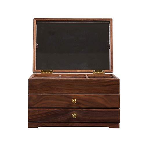 Hoge kwaliteit Houten Jewelry Box, Multi-Layer grote capaciteit lade Cosmetische zaak European Multi-Function sieraden opbergdoos met spiegel for sieraden Cosmetische zaak