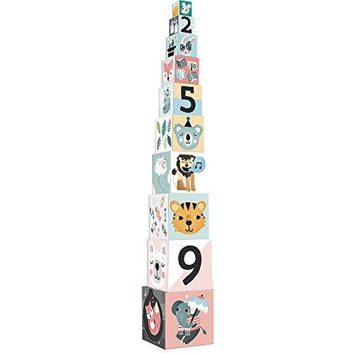 Vilac- Cubes gigognes Les Animaux Michelle Carlslund, 8501, Multicolore