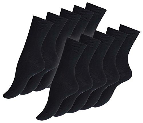 Cotton Prime 10 Paar Damen Socken schwarz 80% Baumwolle glatt gestrickt, Spitze Handgekettelt, Gr. 39-42