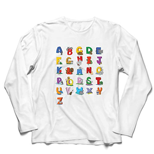 lepni.me Camiseta de Manga Larga para Hombre Alfabeto Inglés, Diseño de Canciones ABC, Aprendizaje de Letras, Regreso a la Escuela o Regalos de Graduación (Small Blanco Multicolor)