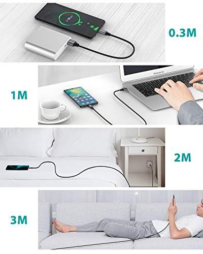Nimaso USB Typ C Kabel 3A[4Stück 0.3M+1M+2M+3M],USB C Ladekabel und Datenkabel Fast Charge Typ C Schnellladekabel für Samsung Galaxy S10 S9 S8 S20 Plus A50 A40 A7 A5 A3 2017 Note 10 9 8,Huawei P10 P9