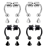 CARSINEL Non Piercing Magnetic Septum Nose Ring for Women Stainless Steel Hoop Reusable Fake Nose Jewelry (Silver and Black)