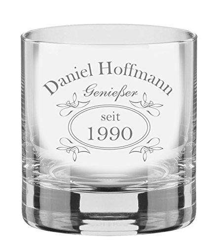 EIN Whiskey Tumbler, Glas mit Whiskey Design inkl. Wunschgravur Gravur Wunschtext