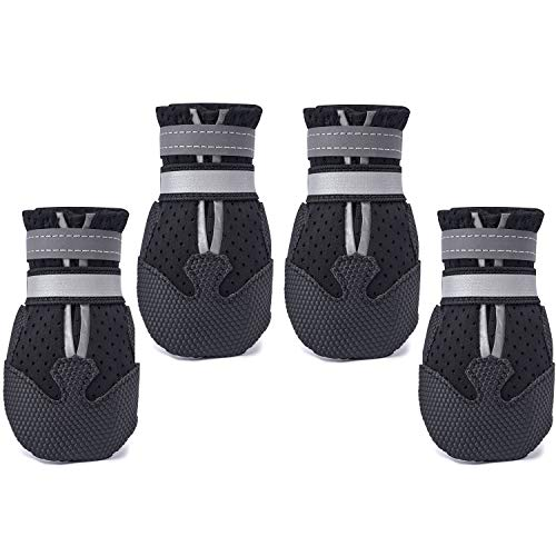 Dimicoo Breathable Dog Boots Nonslip Rubber Soft Sole for Summer Black XXL (Pack of 4)