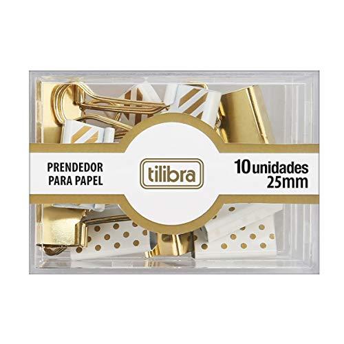Prendedor de Papel 25mm Dourado, Listras e Bolinhas 10 Unidades, Tilibra, 178268 - 1 un