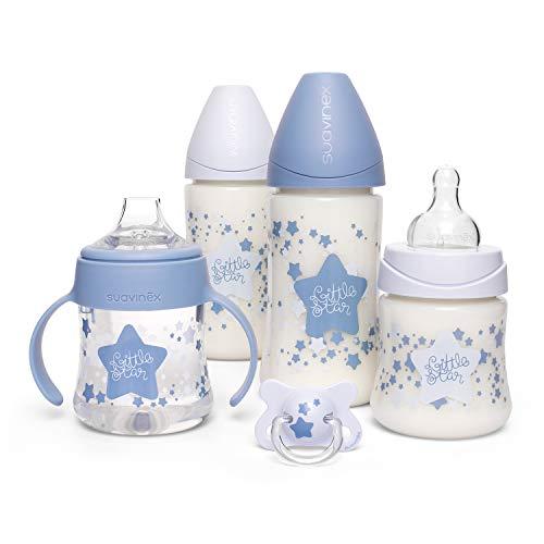 Suavinex, Pack Ahorro Little Star 2 biberones 270ml + 2 biberones 150ml + Chupete -2-4 meses, Azul