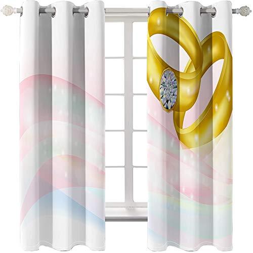 AmDxD 2 paneles de cortina de poliéster, cortinas para ventanas de dormitorio, cinta para parejas, se puede lavar a máquina, oro rosa claro, 108 x 54 pulgadas