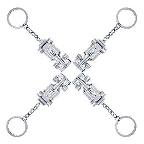 hugttt 4 stuks Zilver Racing Auto Sleutelhanger F1 Motor Auto Model Sleutelhanger Cadeau voor Jongen of Mannen