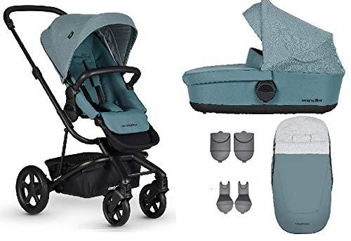 Easywalker Harvey² Kinderwagen + Babywanne + Fußsack + Adapter für Autositz + Höhenadapter Ocean Blue