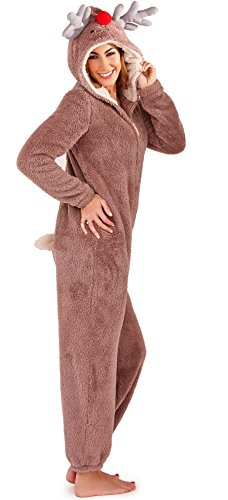 Damen Overall Loungeable Damen Pyjama 3D Ohren Overall Schlafanzug - Rentier, 44-46