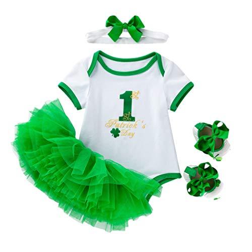PRETYZOOM Niños St. Día de Patricks Conjuntos de Disfraces de Algodón Traje Verde Camisa de Tutú Vestido Diadema Zapatos para Niñas Fiesta Carnaval Festival Vestir Decoración