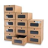 WallQmer - Caja de zapatos, 12 unidades, tamaño grande (35 x 23,6 x 13,5 cm), cartón impermeable, resistente, apilable, estable cajas de almacenamiento, con etiquetas de marcado, ventana transparente