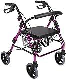 Rollator plegable, andador rodante con asiento para ancianos, estabilizador para caminar con 4 ruedas, ayuda de movilidad duradera, marco de aluminio liviano