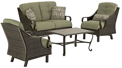 Hanover VENTURA4PC Ventura 4Piece Indoor Lounging Set Outdoor Furniture Vintage Meadow