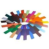 20Pcs Filtros de Colores Transparentes, Filtro de Gel de Corrección, Filtro de Luz, Cámara Flash Speedlite,Fotografía Estudio Ilumincación, con Bandas de Fijación y Bolsa de Almacenamiento,Universal