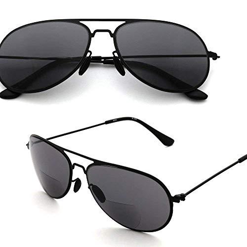 MIDI-ミディ サングラス 老眼鏡 おしゃれ メンズ リーディングサングラス ティアドロップ ブラックフレーム×スモークカラーレンズ (M-304,C1,+1.50)