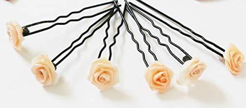 Haarschmuck - 6 schwarze Haarnadeln Rose Farbe apricot Hochzeit Braut
