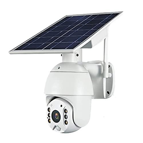 Cámara PTZ inalámbrica con batería solar 4G LTE, cámara de seguridad PTZ al aire libre con panel solar para interior/exterior, visión nocturna de color, detección de movimiento de vídeo