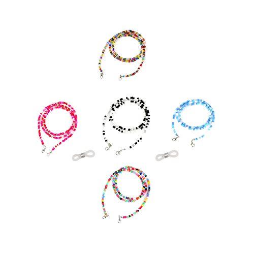 Gresunny 5pcs cadenas de gafas de mujer cadenas de anteojos cordón de collar de gafas de cuentas vistoso anti-perdidas decorativas correa de retención de cordón para gafas de sol para mujeres