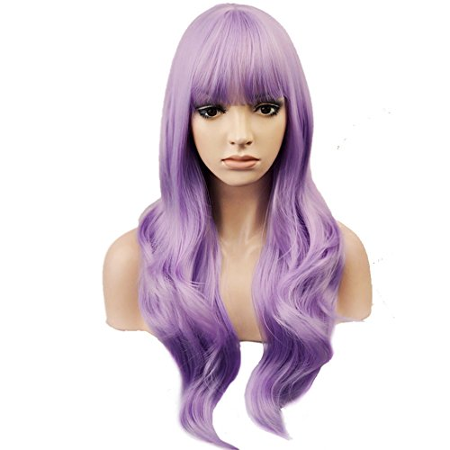 BERON Purple Wig Long Wavy Wig with Bangs Synthetic Wig Long Wig Lavender Purple Wigs for Cosplay Costume Party with Wig Cap