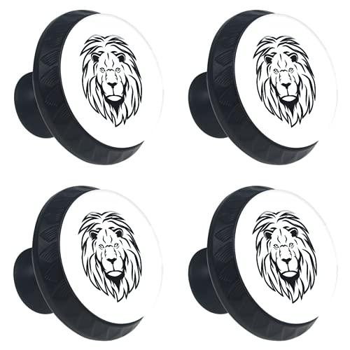 FURINKAZAN Tirador para armario de cocina, armario, puerta, cajones, cajones, tiradores de ropa, gancho moderno y simple león negro y blanco