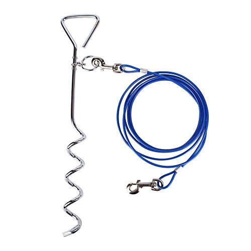 Petphabet Dog Stake with Tie Out Cable, 16 Inch Stake with 20-Feet Tie-out Cable Heavy Duty for Small to Medium Dogs to Play … (20 Feet (For 80LB Dog), Blue)