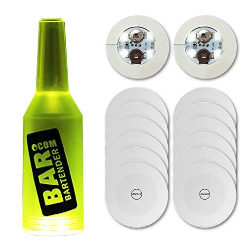 Xfunjoy LED Coaster, LED Sticker Lights, LED Bottle Lights Cup Holder Lights for Wine Liquor Bottle, Bottle Sparklers for Champagne, Party, Bar 12Pcs ,Cold White