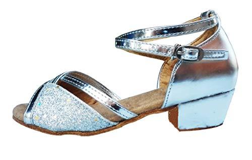 Zapatos de Baile - latinoamericano - niñas - niñas - salón de Baile - Color Plata - Brillo - Talla 27 EU - Idea de Regalo de cumpleaños - Navidad - Fiesta