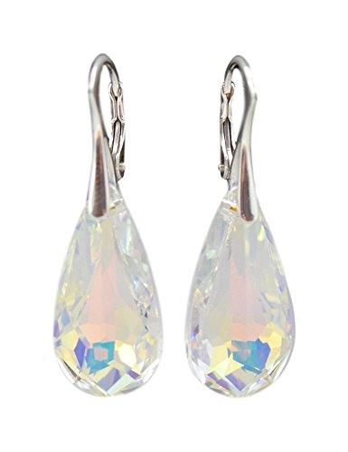 Crystals & Stones *TROPFEN* 24 mm *Viele Farben* Ohrringe Damen Ohrhänger mit Kristallen von Swarovski Elements BA/2 (Crystal AB)