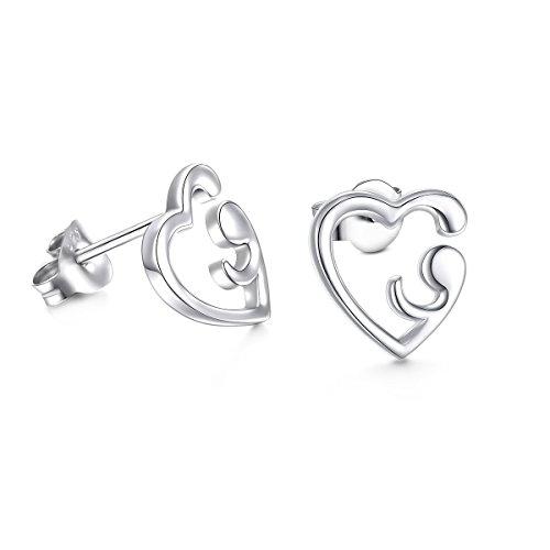 S925 Sterling Silver Heart Semicolon Stud Earrings For Women
