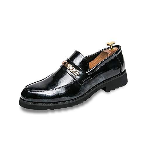 Z.L.FFLZ Oxford Schuh Herren Retro Britischen Stil Oxford Lackleder Slip On Rutschsohle Laufschuhe Vamp Decor Mit Kette Lederschuhe (Color : Black, Size : 41 EU)