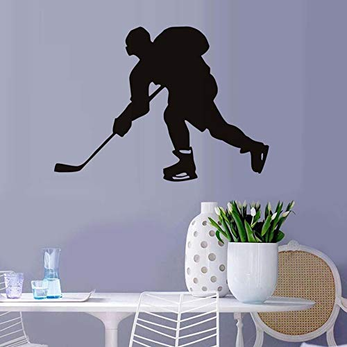 Tianpengyuanshuai Hockey Player muursticker decoratie vinyl verwijderbare hockey sport woonkamer silhouet design
