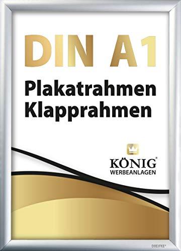 Plakatrahmen DIN A1 | 25mm Alu Profil, eckig | Silber | inkl. entspiegelter Schutzscheibe und Befestigungsmaterial | Bilderrahmen Klapprahmen Wechselrahmen Posterrahmen Rahmen | Dreifke®