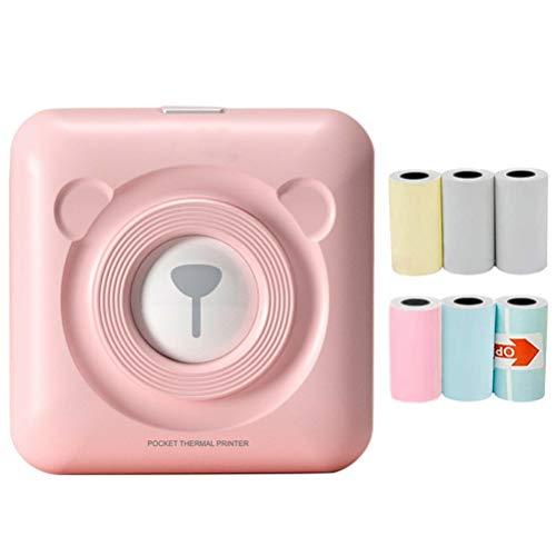 ruixin Taschendrucker Mini drucker BT-Thermodrucker Tragbarer Fotodrucker mit 6 Rollen Farb Thermopapier, kompatibel mit Android- und iOS-System für Journal, Reisen, Tagesplan
