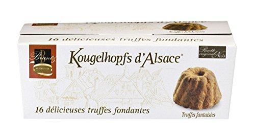 Feinherbe Trüffel Spezialität der Chocolaterie Bruntz, im Elsaß, Kougelhopfs d'Alsace, 16 délicieuses truffes fondantes, 144g
