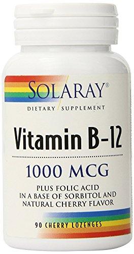 Vitamina B12 con Ácido Fólico 90 comprimidos de 1000 mcg de Solaray