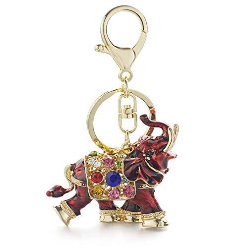HWWGG Llaveros con Llavero de Elefante auspicioso 3D, llaveros con Colgante de Bolsa de Cristal Coloridos de Esmalte Entero para Mujeres