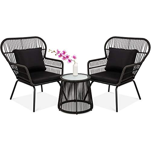 Best Choice Products 3-Piece Outdoor All-Weather Wicker Conversation Bistro Furniture Set w/ 2 Chairs and Glass Top Side Table, Black