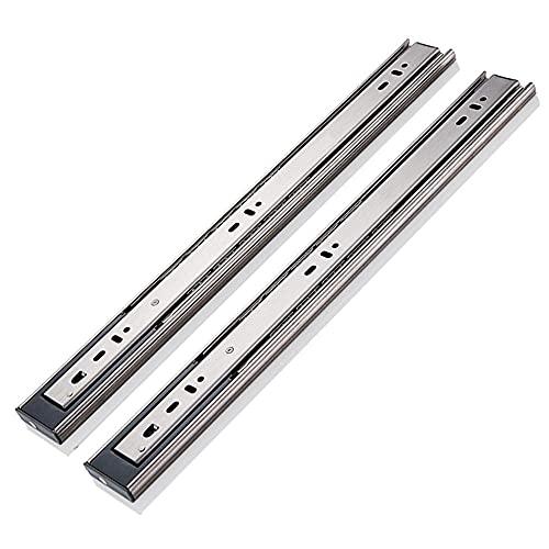 Guía de cajón de tres secciones, engrosada, tope de amortiguación, riel deslizante de acero inoxidable, adecuado para accesorios de hardware