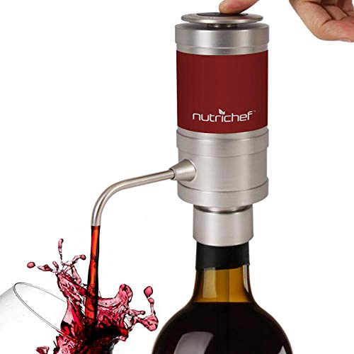 NutriChef PSLWPMP50 Electric Aerator Dispenser Pump-Portable and Automatic Bottle Breather Tap Machine-Air Decanter Diffuser System for Red and White Wine, Small