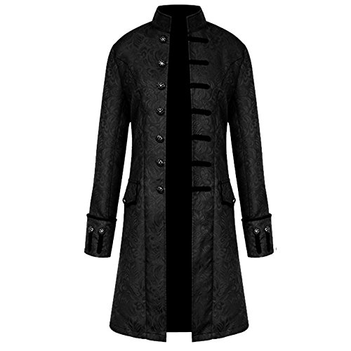 H&ZY Men Steampunk Vintage Jacket Halloween Costume Retro Gothic Victorian Frock Coat Uniform Black