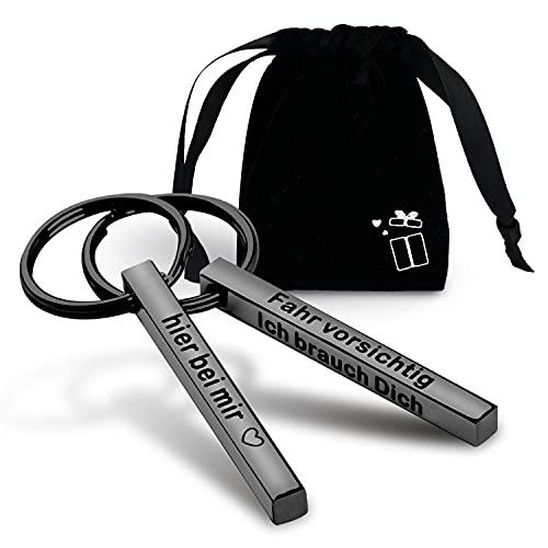 iTemstore24 Schlüsselanhänger Fahr vorsichtig Anhänger schwarz Geschenk mit Liebesbotschaft aus Edelstahl mit Gravur inkl. Samtbeutel (1x Fahr Vorsichtig Ich Brauch Dich)