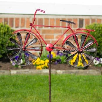 CIM Metall Windrad – Bicycle Red – Wetterfest, mit Antik-Effekt – Windräder: Ø18cm, Motiv: 51x32cm, Gesamthöhe: 160cm – inkl. Standstab - 4